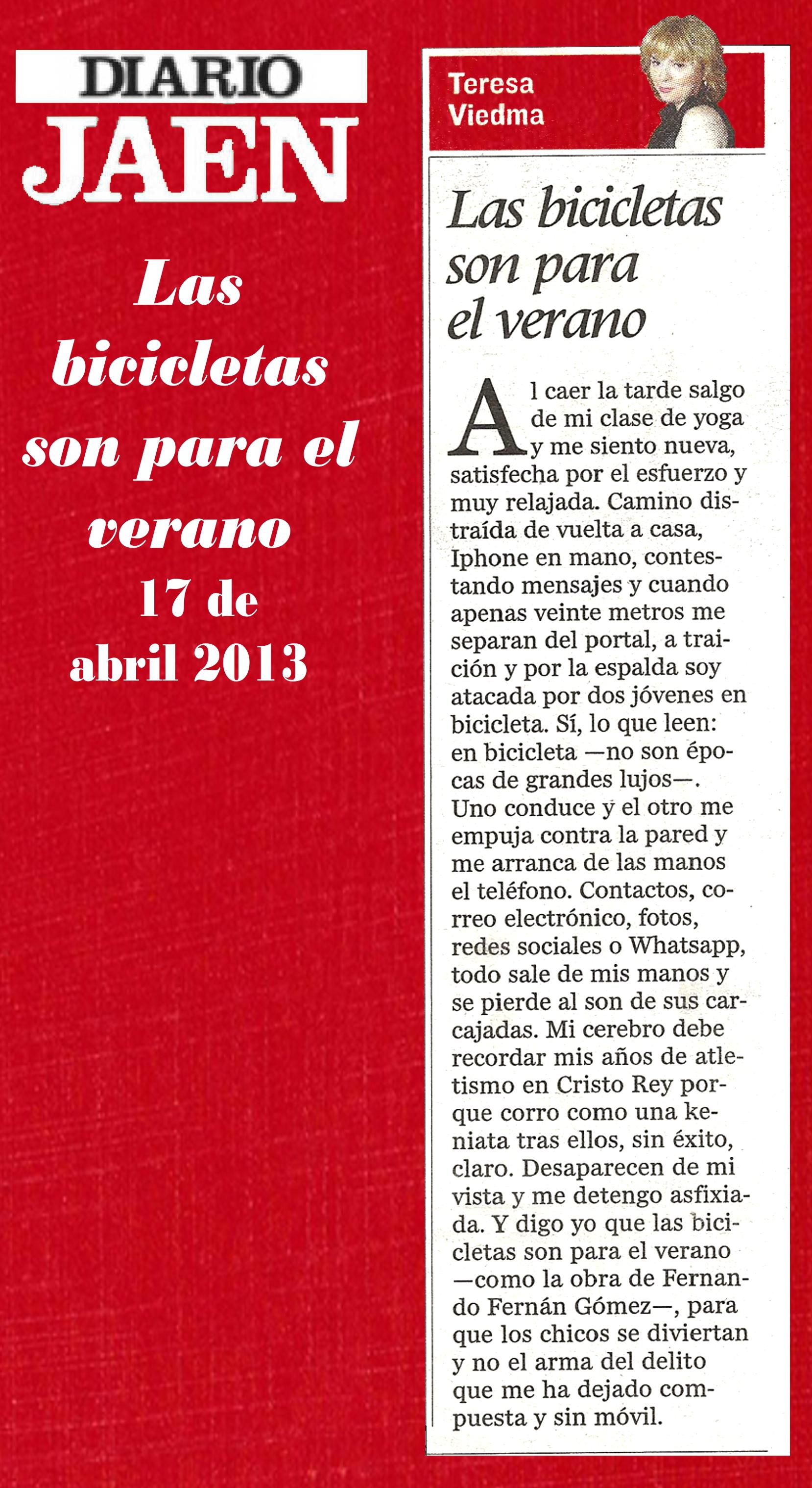 17042013 LAS BICICLETAS SON PARA EL VERANO